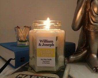Sparkling Lemon Scented Soy Candle, Lemon Candle, Lemon Soy Candle, Scented Candles