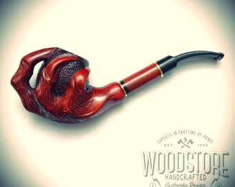 Handmade  wooden tobacco smoking pipe - wood pipe