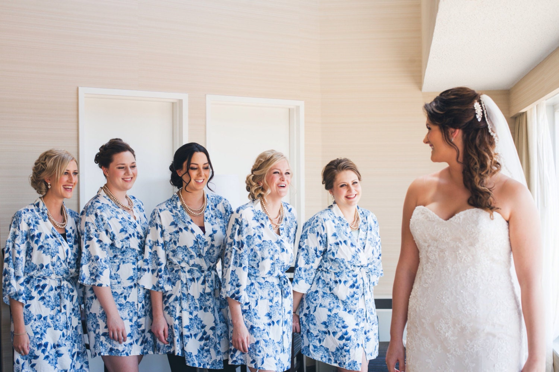 Blue Floral Bridesmaid Robes Wedding Robe Bath Robe