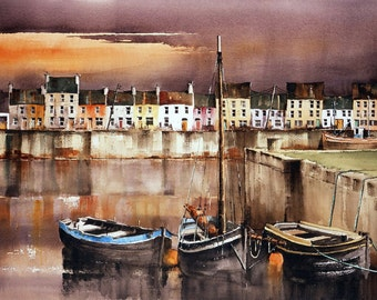 Evening on the Cladagh Harbour Galway  Ireland  19x13'' ltd Ed Giclee Print