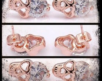 18k skull stud earrings