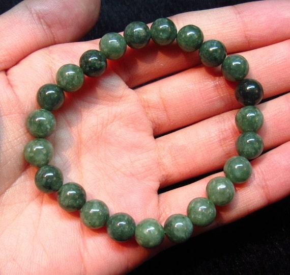 Jade Bracelet Beads: Green 100% A JADE Jadeite Bead Beads Bracelet 7mm By Ajade088