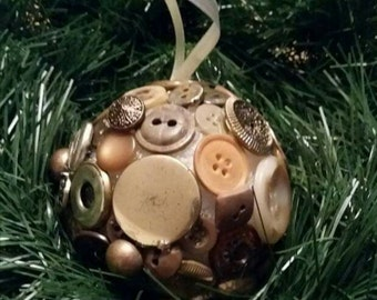 Ball ornament featuring vintage buttons