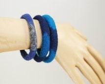 Eco-friendly Trio of Felt Bangles  in Blue and Grey Merino Wool