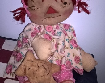 primitive raggedy ann annie doll teddy bear