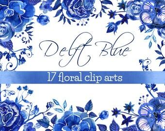 Delft Blue Watercolor Flowers Clip Art 17 elements// ceramic flowers clip art/ delft flowers clip art/ handpainted  blue flowers clip art