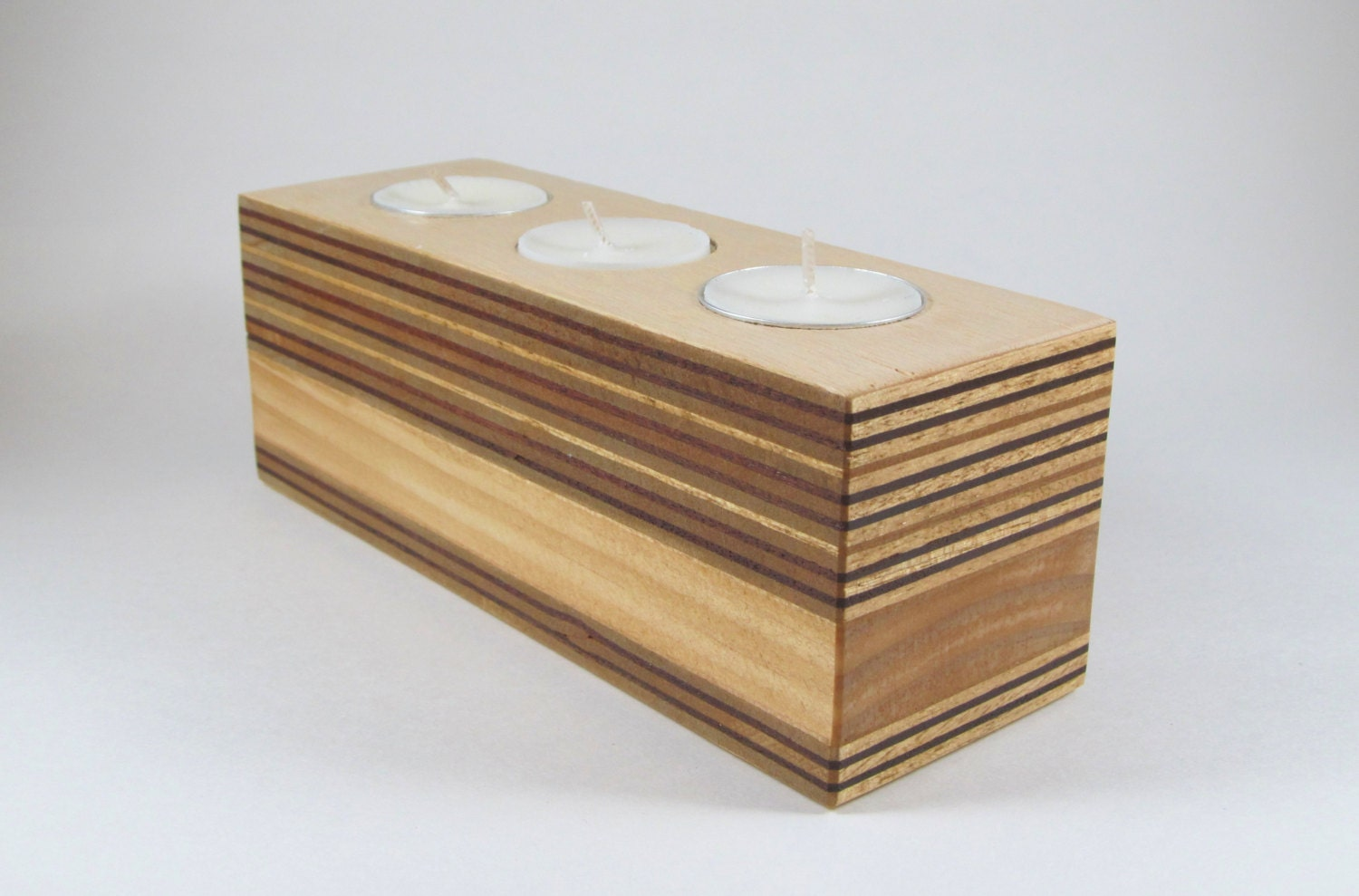 Plywood Wooden Tea Light Candle Holder Modern Candle Holder