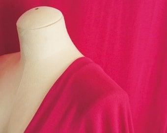 Cotton Bamboo Jersey Knit Fabric By 1/4 Metre, Hot Pink Soft Stretch Fabric, Bamboo Fabric, Cotton Knit Fabric, drapey dress Fabric