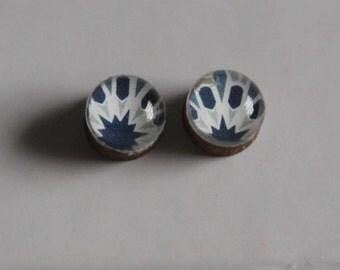 Blue and White Geometric Stud Earrings - Wood Earrings, Wood Studs, Geometric Earrings