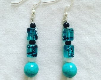 Cute blue drop earrings