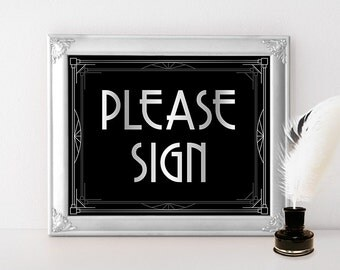 Please Sign - Wedding Guestbook Sign, Wedding reception decor, Silver Wedding signs, Guest log, 20s Wedding, Roaring Twenties Wedding