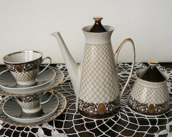 Vintage Porcelain Espresso Coffee Set for 2 persons, Ornamental decor, Riga
