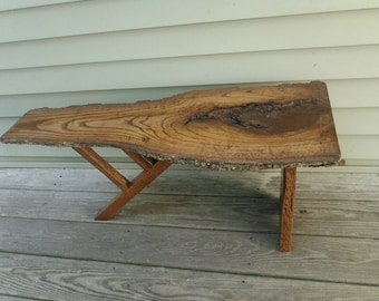 Red oak,live edge,bark on, unique one of,Nakashima styled, bench/coffee table,