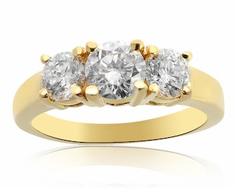 1.50 Carat G-SI2 Natural Round Brilliant Diamond Engagement Ring 14K Yellow Gold