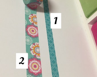 Turquoise and mint green flower washi tape choice of one 24 inch sample.