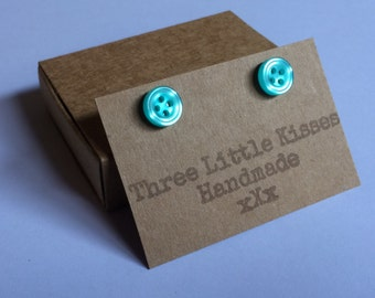 Sky Blue Little Button Earrings | Gifts for Her | Handmade Jewellery