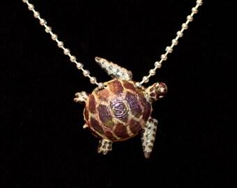 Sea Turtle necklace, Loggerhead Sea Turtle, Realistic Sea Turtle necklace, hand painted Sea Turtle necklace