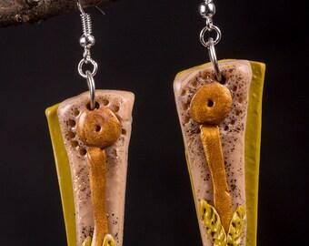 Polymer clay, flower earrings
