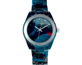 Ice - Watch - Bracelet and case Blue stainless steel and ice - made in France