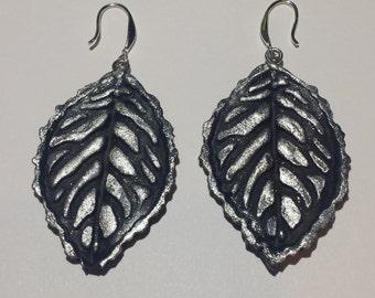Black and Silver Leaf earrings