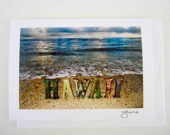 Hawaii Letters on Sea Shore Photo Card