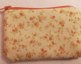 Floral Cream Calico Pouch Wallet
