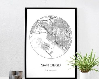 San Diego Map Print - City Map Art of San Diego California Poster - Coordinates Wall Art Gift - Travel Map - Office Home Decor