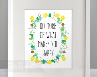 Wall Art, Sunny Floral Word Art 8x10 Print - Digital Download