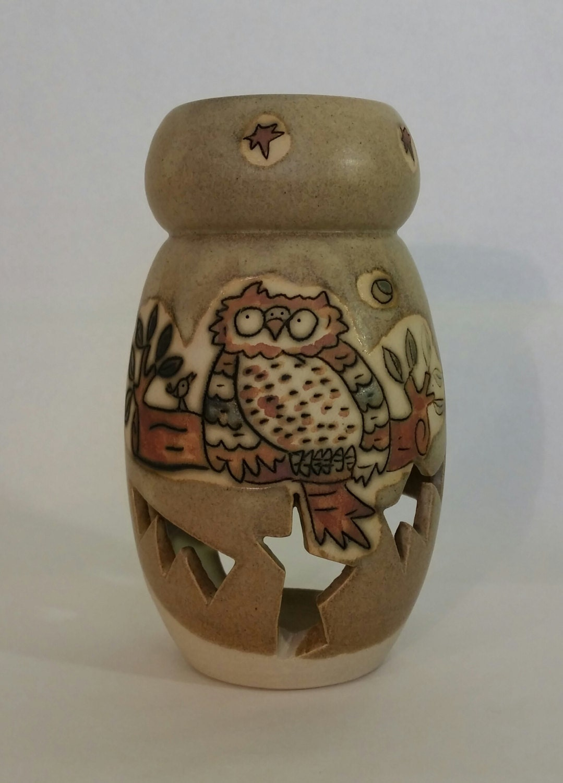 Handmade Ceramic Oil Lamps : Ceramic oil lamp owlhandmade stoneware