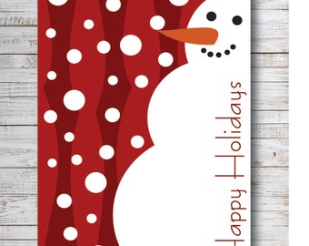 Happy Holidays in Red Snowman