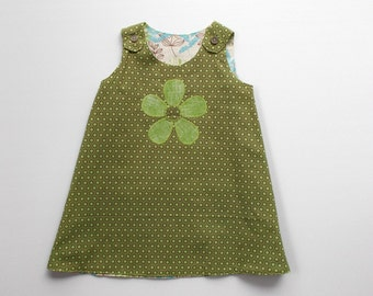 Reversible Daisy Applique Dress Size 3 Retro Print Fabric Tunic style