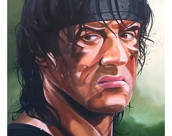"""Sylvester Stallone, Rambo, First Blood, Suitable for Framing, 12"""" x 16"""" Digital Fine Art Print, Super Hero Wall Art, Unique Gift"""