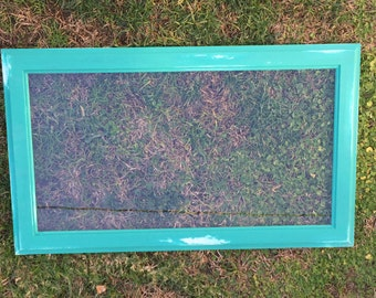 Handmade and distressed antique glass window frames - Annie Sloan Antibes Green & Florence Blue
