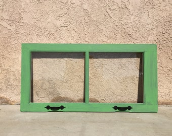 Shabby Chic Distressed Window frame Annie Sloane Antibes Green / Old White Paint