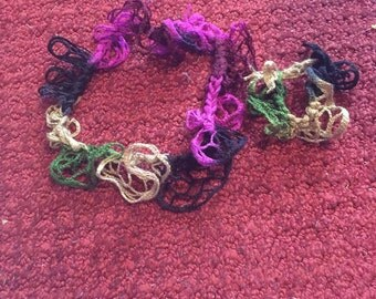 Headband & Ponytail Holder - Black/Purple/Green/Tan