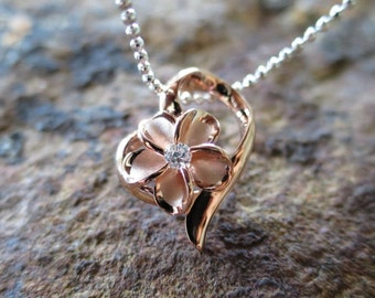 ink Rose Gold Heart Plumeria Flower Hawaiian Silver Pendant Necklace #SP86929