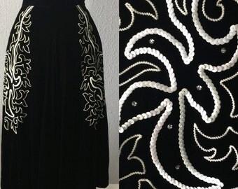 1940's/1950's Rockabilly Velvet Sequin Embroiderd Midi Swing Skirt