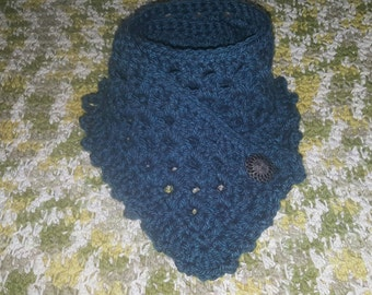 Crocheted Ruffled Cowl / Scarf with Button [many colors]