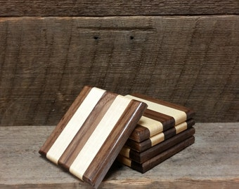 Maple and Walnut Coasters (set of 5)