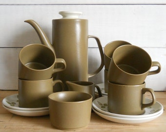 J & G Meakin Maidstone 'Tulip Time' Coffee Set - Coffee Pot, Six Cups and Saucers, Sugar and Creamer