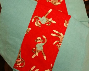 Set of 2 Sock Monkey Burp Cloths