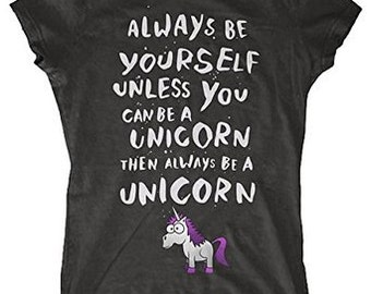 "Ladies ""I Wish I Was A Unicorn"" Hilarious Parody T-Shirt (Black)"
