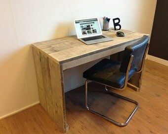 Handmade Chunky Rustic Wooden Desk Reclaimed Clear Finish