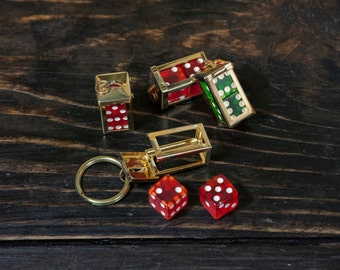 1950's Deadstock Vintage Funny Dice Keychain Solid Brass Rockabilly Gambler Lucky Dice