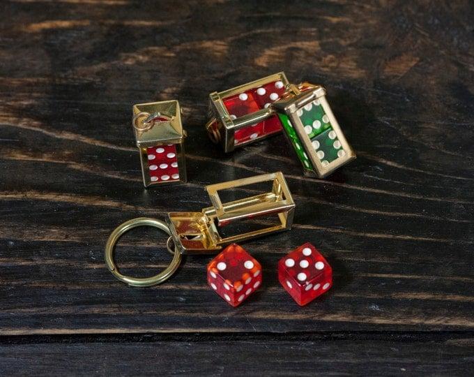 1950's Deadstock Vintage Dice Keychain Solid Brass Rockabilly Gambler Lucky Dice