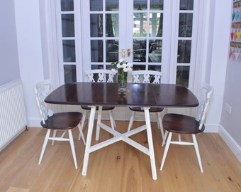 Stunning Ercol Solid Elm Drop Leaf Dining Table and four chairs