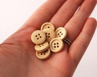 10 Small-Natural, Light Brown Wood Buttons, 15 mm, 4 Holes - Wooden Buttons, Set of 10 (RB1501)