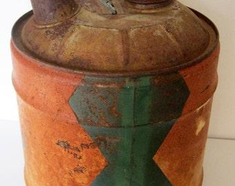 Vintage 5 Gallon CONOCO Nth Oil Can / Rusty Primitive Decor
