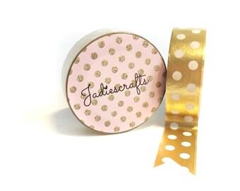 Light Gold & White Large Polka Dot Washi Tape