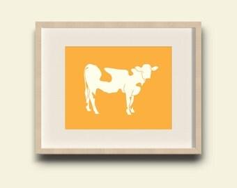 Farm Cow animal wall print digital print download